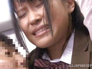 japanese girl sucks two cocks on the train