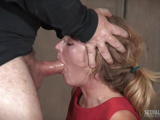 blonde sub in bondage throatbang