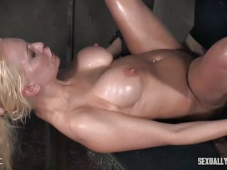 bound bimbo milf cums while dominated
